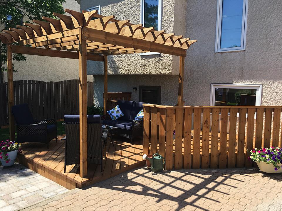 Longford Pergola Exterior Structure - Winnipeg Exterior Renovations - All Canadian Renovations Ltd.